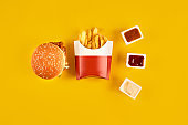 Fast food dish on yellow background. Fast food set meat burger, three sauce and french fries. Take away fast food