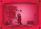 Paper art style of rose flowers and vines on pink background In the frame with man and woman in love. vector illustration