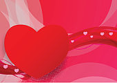 Red and Pink wave abstract vector with hearts shape, graphic design for Valentine's day