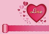 Paper art of love and red heart with pink background, valentine's day concept, vector art and illustration
