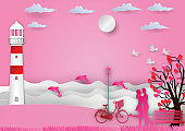 Valentines day background with man and woman in love have bike and a tree made out of hearts and sea with dolphins. paper art and craft style. vector illustration