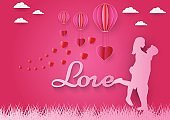 Paper art of love and red heart with pink background, origami and valentine's day concept, vector art and illustration