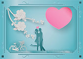 Paper art style of Flowers and vines on a blue background In the frame with man and woman in love. vector illustration