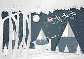 Paper art style, Snowflake and deer for Christmas Season, Vector illustration of Merry Christmas