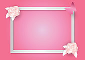 Pink flowers and frame on pink background. paper art and craft style. vector illustration for Valentine's day