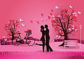 Valentine's day background with man and woman in love have bike and a tree made out of hearts. paper art and craft style. vector illustration