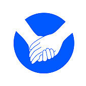 Holding hands on blue circle.