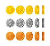 Flat cartoon gold and silver coins with dollar symbo