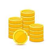 Stack of gold coins in a flat style