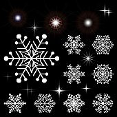Set of snowflakes and glowing elements. Collection of elements for the New Year and winter design.