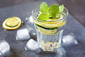 Pure water, ice, lemon and cucumber