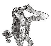 Humorous illustration of a Rebellious woman abusing prescription medicine and alcohol