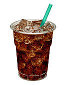 Cola with ice and straw in takeaway cup