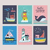 Summer holiday vacation  greeting card set with hand drawn cute boat, lighthouse and whale. Isolated vector illustration