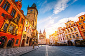 Fantastic view of the town square on Prague, Czech Republic