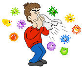 sneezing man with germs
