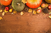 Thanksgiving dinner. Thanksgiving autumn background. Flat lay, top view