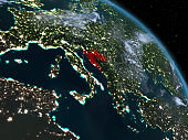 Croatia at night from orbit