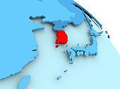 South Korea on blue globe