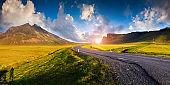 Typical Icelandic landscape with asphalt road