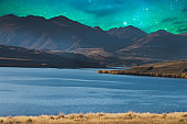 Panoramic nature landscape in south island New Zealand with milky way