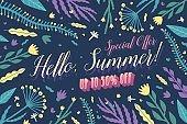 Floral design invitation card