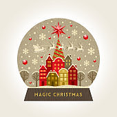 Decorative illustration flat snow globe. Christmas vector illustration.