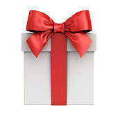 Gift box or present box with red ribbon bow isolated on white background. 3D rendering