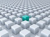 Stand out from the crowd and different creative idea concepts , One green cube amongs other white cubes on white background with reflections and shadows