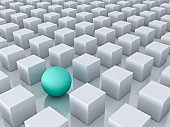 Stand out from the crowd and different creative idea concepts , One green sphere among other white cubes on white background with reflections and shadows . 3D render