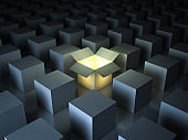 Stand out from the crowd , different creative idea concepts , One luminous opened light box glowing among closed white square boxes on dark background with reflections and shadows. 3D render