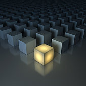 Stand out from the crowd , Different creative idea , Leadership concepts , One glowing yellow light cube among dim cubes on dark grey background with reflections and shadows . 3D render