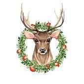Noble deer. Christmas wreath