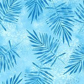 Blue leaves. Watercolor seamless pattern