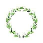 Green watercolor laurel wreath 1