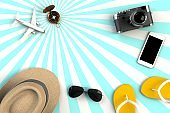 Top view of Traveler's accessories on striped blue background, Essential vacation items, Travel concept, 3D rendering