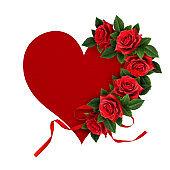 Red rose flowers heart shape arrangement