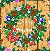 Greeting merry Christmas poster with Christmas tree and balls. Vector