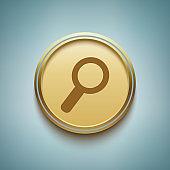 Search Circular Gold Vector Web Button Icon