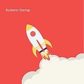 Flat rocket icon - Illustration