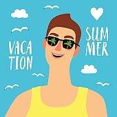Happy man on summer vacation