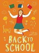 Cartoon schoolgirl jumping with books