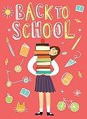 Cartoon schoolgirl holding books