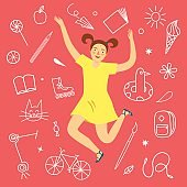 Cheerful girl jumping and smiling