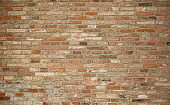 large wall made with many red bricks
