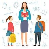 Cartoon girl and boy with teacher.