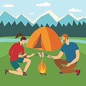 Camping and hiking illustration