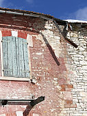 broken roof of an ancient house