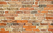 ancient wall made with many red bricks