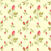 Retro seamless pattern in shabby chic style
